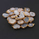 10 Pcs 24K Gold Plated Natural Druzy, Agate Druzy, Single Bail Pendant 30mmx18mm-16mmx11mm  DRZ163 - Tucson Beads