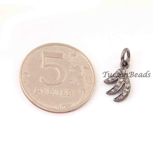 1 PC Pave Diamond Fancy  Charm Pendant  ,925 Sterling Silver Charm, 14mmx9mm SJPDC055 - Tucson Beads