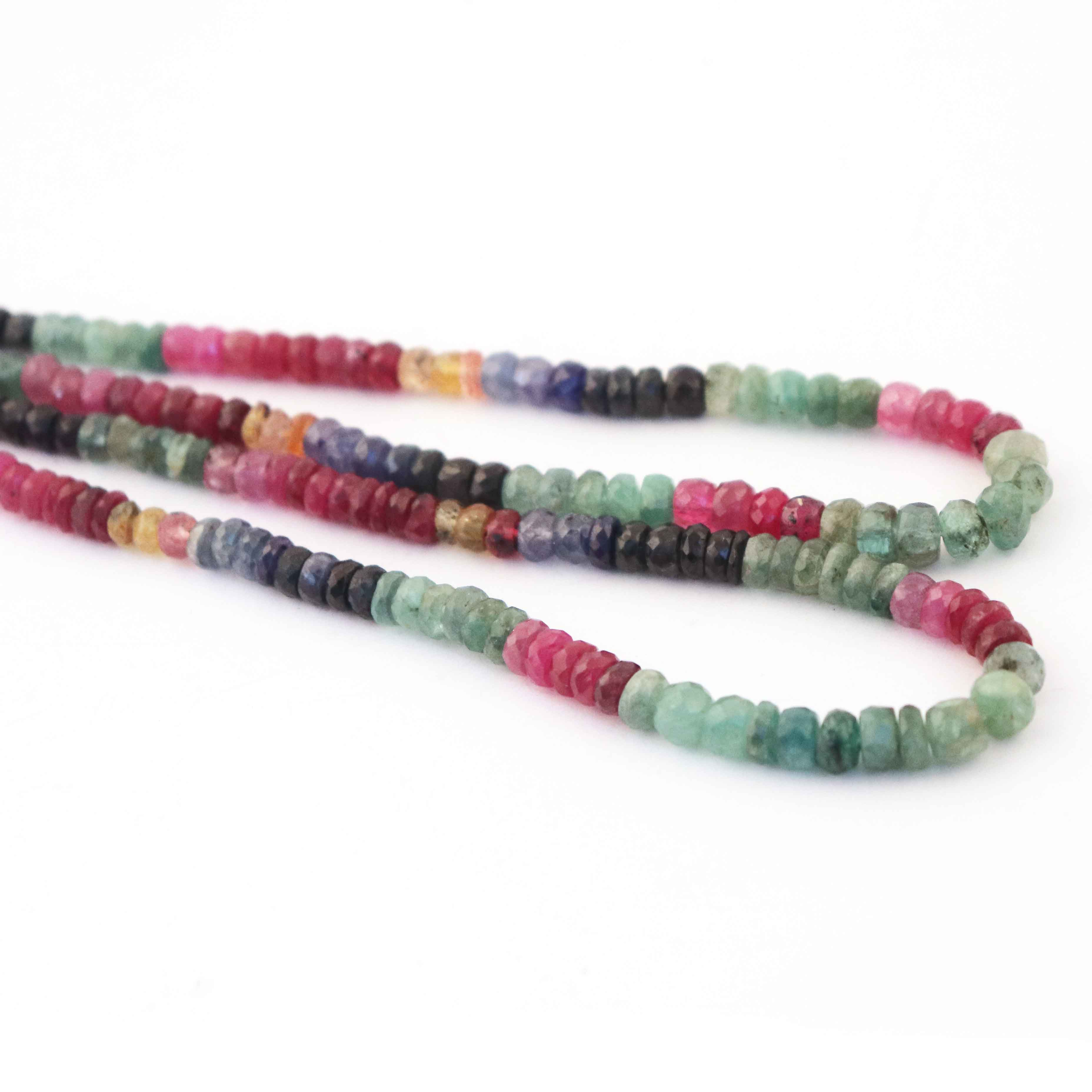 Rare /& Natural Necklace 5 Strand Of Genuine Multi Sapphire Necklace Faceted Rondelle Beads Stunning Elegant Necklace 4mm BRU3379