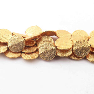 2 Strand Gold Plated Designer Copper Coin Shape Beads, Scratch Mat Finish Beads, Jewelry Supplies 15mm 8 inches Bulk Lot GPC227