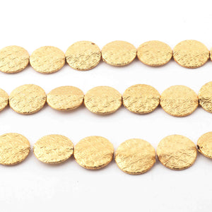 1 Strand Gold Plated Designer Copper Coin Shape Beads, Scratch Mat Finish Beads, Jewelry Supplies 15mm 8 inches Bulk Lot GPC227 - Tucson Beads