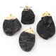 2 Pcs 24K Gold Plated Black Druzy , Druzy Sparkle Single Bail Pendant (32mmx17mm-8mmx5mm)-(66mmx36mm-8mmx5mm)  DRZ166 - Tucson Beads