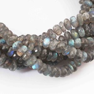 1 Strand  Labradorite Faceted Rondelles - Roundel Beads  -2mm-7mm 14 Inches BR1639 - Tucson Beads