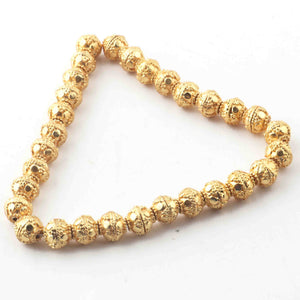 1 Strand Gold Plated Designer Copper Round Beads,Casting Ball Beads,Jewelry Making Supplies 7mm 7.5 inches GPC228 - Tucson Beads