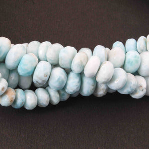 1 Strand Larimar Faceted Roundels - Round  Shape Roundels  - 9mm- 13 Inches BR1632 - Tucson Beads