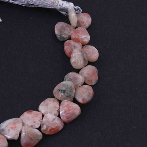 1  Strand Shaded Peach Moonstone Faceted Briolettes  -Heart Shape Briolettes -  7mmx9mm-14mmx9mm -7.5 Inches BR1770 - Tucson Beads
