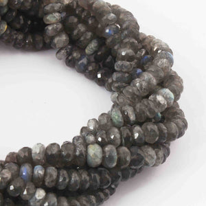 1 Strand  Labradorite Faceted Rondelles - Roundel Beads  -6mm-12mm 15 Inches BR1633 - Tucson Beads