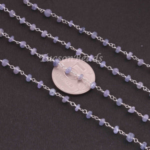 5 Feet Tanzanite Rosary Style Beaded Chain - 925 Silver Plated Tanzanite Chain 4mm BDG063