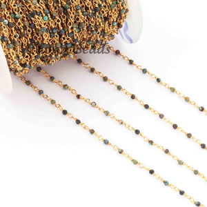 5 Feet Chrysocolla Rosary Style Beaded Chain - Chrysocolla 24k gold Plated Wire Wrapped Chain BDG081