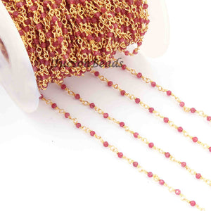 5 Feet Garnet Rosary Style Beaded Chain -Garnet 24k gold Plated Wire Wrapped Chain BDG077