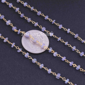 5 Feet Tanzanite Rosary Style Beaded Chain -  Tanzanite 24k gold Plated Wire Wrapped Chain BDG048 - Tucson Beads