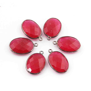 10 Pcs Pink Chalcedony Faceted Oxidize Sterling Silver Oval Shape Pendant Single Bali   22mmx15mm - SS1092 - Tucson Beads