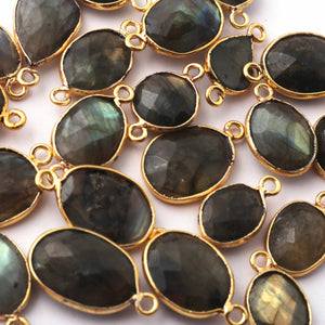 10 Pcs Labradorite Faceted Assorted Shape 24k Gold Plated Single Bail Pendant - Labradorite Assorted Pendant 21mmx10mm PC254 - Tucson Beads