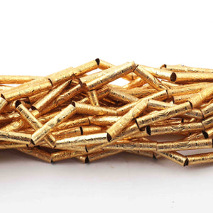 5 Strands Designer Tube Beads 24k Gold Plated Copper 25mmx5mm 9 inches GPC274 - Tucson Beads
