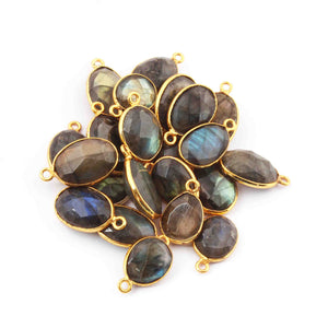 11  Pcs Labradorite  24k Gold Plated Faceted Oval Shape Pendant & Connector Double & Single Bali - 14mmx10mm - 20mmx12mm  PC466 - Tucson Beads