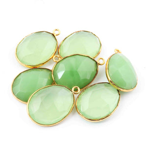 7 Pcs Green Chalcedony 24k Gold Plated Faceted Oval Shape Pendant Single Bali - 23mmx15mm -PC423 - Tucson Beads