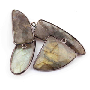 4  Pcs Labradorite  Oxidized Sterling Silver  Plated Faceted Assorted Shape Pendant Single Bali - 34mmx14mm - 41mmx15mm  PC505 - Tucson Beads