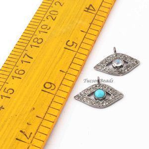 1 Pc Pave Diamond Evil Eye Charm 925 Sterling Silver Pendant - 15mmx21mm PDC052 - Tucson Beads