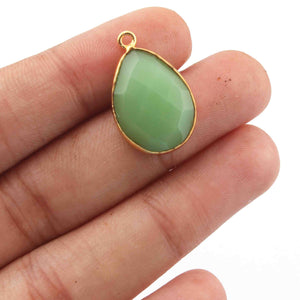 8 Pcs Green Chalcedony 24k Gold Plated Faceted Oval Shape Pendant Single Bali - 22mmx14mm - 21mmx13mm -PC477 - Tucson Beads