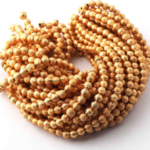 5 Strand Gold Plated Designer Copper Balls,Casting Copper Balls,Jewelry Making Supplies- 5 mm- 8 inches Bulk Lot GPC627 - Tucson Beads