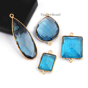 8 Pcs Mix Stone Faceted Assorted Shape 24k Gold Plated Connector/Pendant  -43mmx14mm-24mmx13mm-PC775 - Tucson Beads