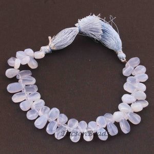 1 Strand Natural Chalcedony Smooth Briolettes Pear Shape 10mmx7mm-13mmx7mm 8 Inches BR2004 - Tucson Beads