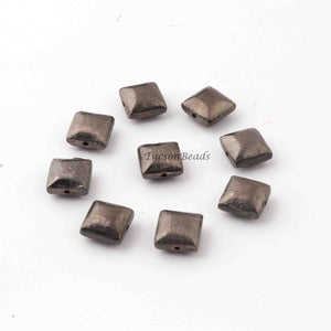 2 Strands AAA Quality Rectangle Scratch Bar Beads, Black Copper Beads - Rectangle Scratch Bar Beads 10mm 8 inche GPC268 - Tucson Beads