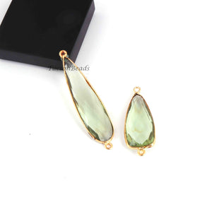 2 Pcs Green Amethyst 24k Gold Plated Faceted Assorted Shape Connector- Green Amethyst  Bezel Connector 51mmx12mm-35mmx13mm- PC770 - Tucson Beads