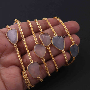 1 Foot Gray Moonstone Connector Chain - 24k Gold Plated Bezel Continuous Connector Chain 24mmx16mm BD859 - Tucson Beads