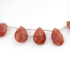 1 Strand Mystic Pink Rutile Pear Shape - Natural Mystic Pink Rutile Quartz Faceted ,13mmx11mm-17mmx11mm 6 Inches BR1240 - Tucson Beads