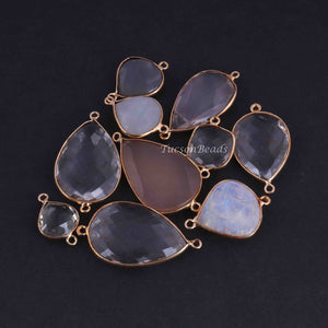 16 Pcs Mix Stone 24k Gold Plated Faceted Assorted Shape Connector/Pendant -  Mix Stone Bezel Connector 39mmx22mm-20mmx13mm PC756 - Tucson Beads