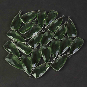 8 Pcs Green Amethyst Faceted Dagger Shape 925 Sterling Silver Pendant 31mmx13mm  SS892 - Tucson Beads