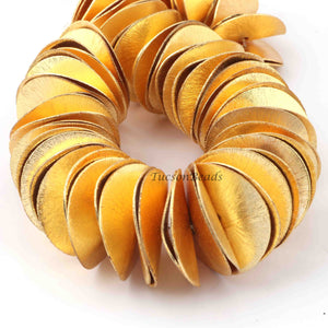 1 Strand 24k Gold Plated Copper Wave Disc Beads, Chips Beads, Copper Potato Chips, Jewelry Making Tools, 28mm, GPC162 - Tucson Beads