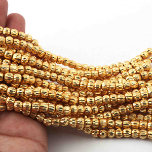5 Strands Gold Plated Designer Copper Ball Beads, Casting Copper Beads, Jewelry Making Supplies 8mm 6 inches GPC537 - Tucson Beads