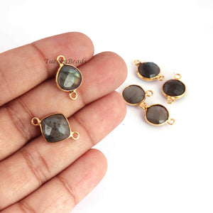 18 Pcs Mix Stone 24k Gold Plated Faceted Assorted Shape Connector -  Mix Stone Bezel Connector 16mmx9mm-19mmx13mm PC761 - Tucson Beads