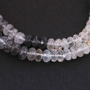1 Long Strand Black Rutile Faceted Rondelles - Gemstone Rondelles  7mm-9mm 9 Inches BR2092 - Tucson Beads