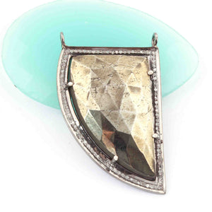 1 Pc Pave Diamond Centre in Natural Pyrite Horn Shape Pendant - Diamond Pendant -925 Sterling Silver Pdc522 - Tucson Beads