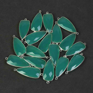 5 Pcs Aqua Chalcedony Faceted 925 Sterling Silver Dagger Shape Double Bail Connector 34mmx13mm- SS773 - Tucson Beads