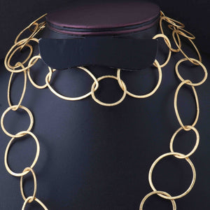 1 Necklace Top Quality 3 Feet Each 24K Gold Plated Round  With Marquise Shape Copper Link Chain - Each 18 inch GPC067 - Tucson Beads