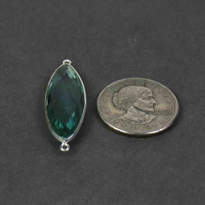 8 Pcs Apatite Faceted 925 Sterling Silver Marquise  Shape Double & Single  Bail Connector & Pendant 41mmx13mm- SS500 - Tucson Beads