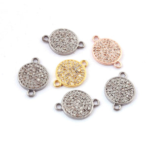 1 PC Pave Diamond Round Disc Double Bail Connector - Diamond Disc Connector 15mmx9mm PDC860 - Tucson Beads