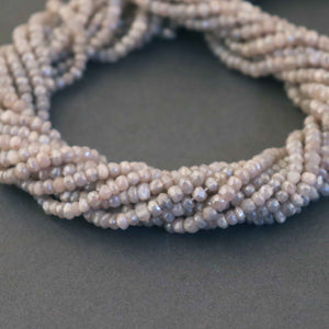 5 Strands Peach Moonstone Silver Coated Faceted Rondelle Beads, Round Beads 4mm-5mm 13.5Inches Long RB279 - Tucson Beads