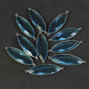 7 Pcs Blue Topaz Faceted 925 Sterling Silver Marquise  Shape Double & Single  Bail Connector & Pendant 41mmx13mm & 39mmx13mm- SS478 - Tucson Beads