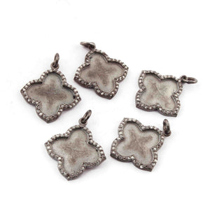 1 Pc Pave Diamond Matte Finish Clover Charm 925 Sterling Silver Pendant - Diamond Clover Pendant 21mmx19mm PDC479 - Tucson Beads