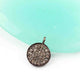 1 Pc Pave Diamond Round Shape Disc Single Bail Pendant - 925 Sterling Silver 13mmx9mm PDC877 - Tucson Beads