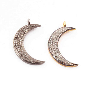 1 Pc Natural Pave Diamond Moon Charm 925 Sterling Vermeil Pendant - Moon Pendant 27mmX6mm PDC1109 - Tucson Beads