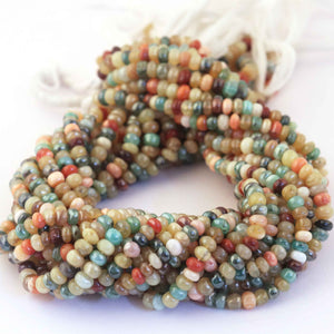 2 Strand Multi Stone Smooth Rondelles - Mix Stone Rondelles 5mm 14 Inch Strand RB055 - Tucson Beads
