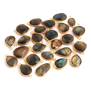 25 Pcs Labradorite 24k Gold Plated Faceted Assorted Shape Pendant---Labradorite Pendant 20mmx10mm-27mmx13mm PC368 - Tucson Beads