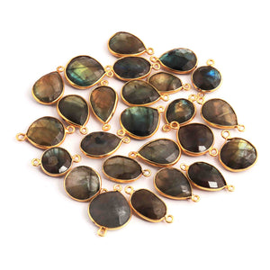 25 Pcs Labradorite 24k Gold Plated Faceted Assorted Shape Pendant---Labradorite Pendant 18mmx11mm-24mmx17mm PC365 - Tucson Beads