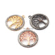 1 Pc Pave Diamond Tree Of Life Round Charm 925 Sterling Silver & Vermeil Pendant - 24mmx21mm PDC1241 - Tucson Beads